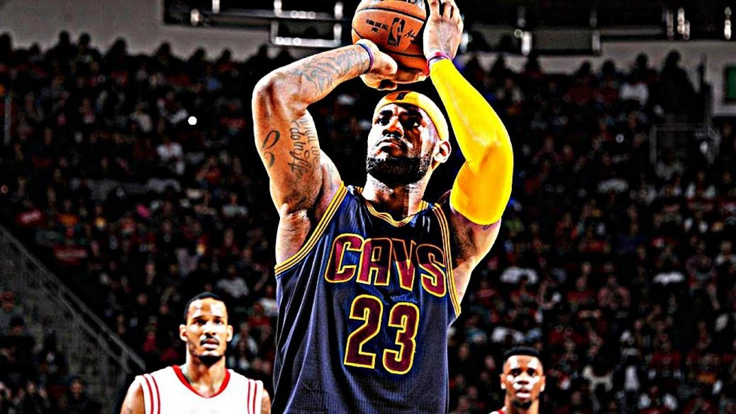 LeBron James throws a free throw