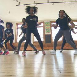 Group of diverse girls dancing in the danceLogic studio