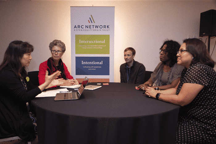 group of people from The Arc Network gathered around conference table