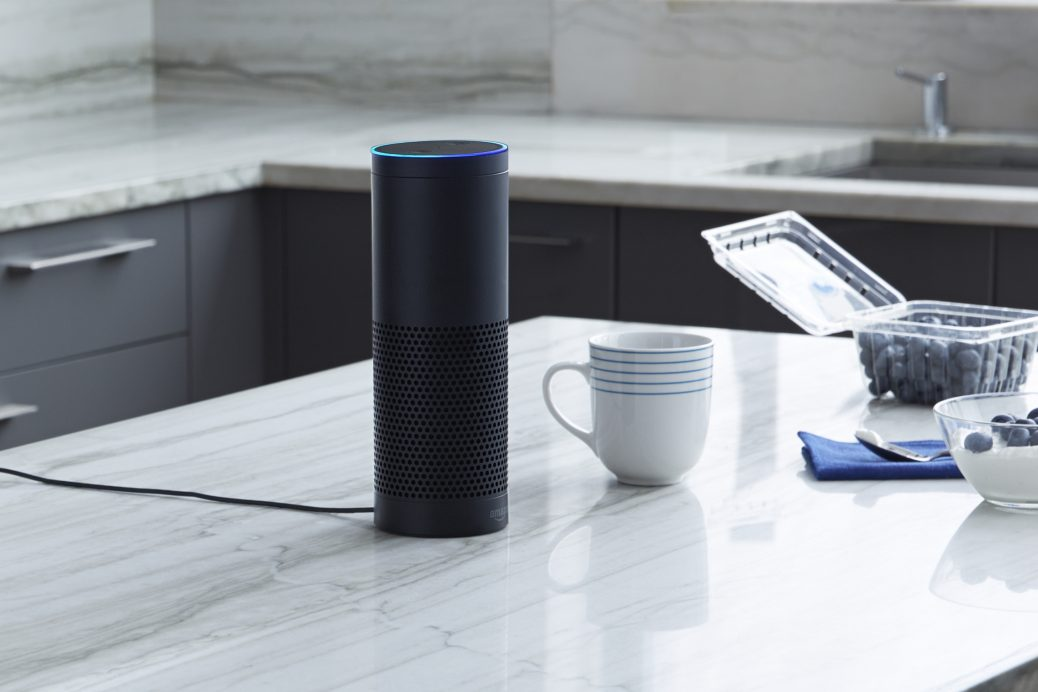 alexa machine sitting on a counter