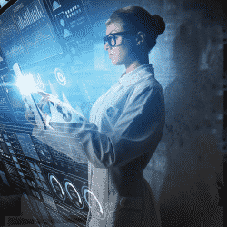 female scientist standing in chemical laboratory