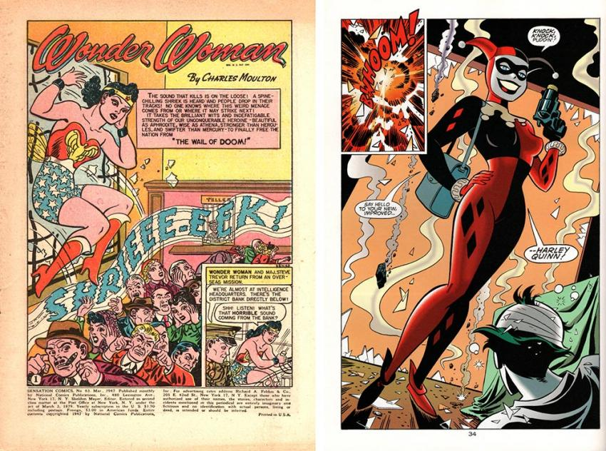 costume sensations wonder woman and harley quinn are pictured in a comic book