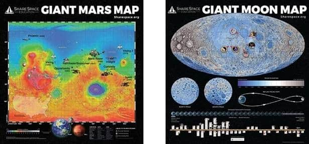 Giant Moon and Mars Maps are pictured side by side