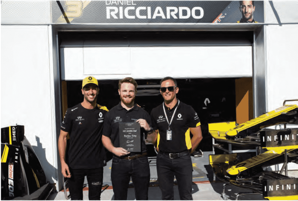 Left to right: Daniel Ricciardo (Renault Formula One™driver), Matthew Kemp (2019 INFINITI Engineering Academy Canadian winner), Adam Paterson (Managing Director, INFINITI