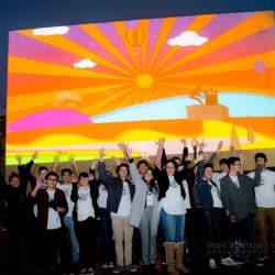 A group of sudents pose at the Global Create-a-thon