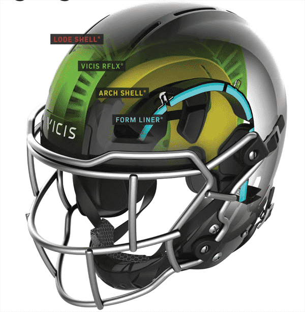 image showing the new design of a football helmet