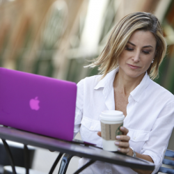 woman on a laptop working remotely