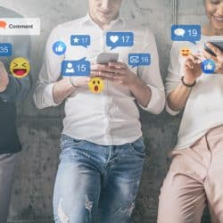 Young people watching a live streaming on social media