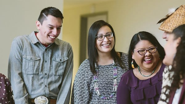 American Indian College Fund students talking with each other